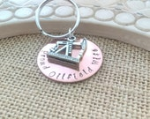 Oilfield Keychain, Handstamped Oilfield Wife, Oil Derrick Charm, Handstamped Keychain, Copper Keychain, Oilfield