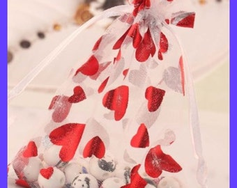 Valentine Bags Red Foil HEARTS Organza, Gifts, Wedding Favors, Valentines Day, Jewelry, Set 15