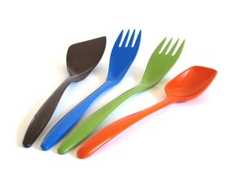 Rosti Melamine Spatula Brown 2531 White, Green Blue Fork 2530, Store Kirsten Orange Spoon 518, Hutzler Kitchen Utensils Danish Modern