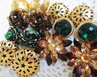 Vintage Jewelry Earrings Clip On Crafting Lot Gold Green Brown (7) Crystal Metal Glass