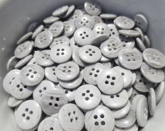 """1/2"""" Gray Buttons 13mm 4 Hole 48 Pieces Plastic Small Set"""