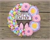 Small Easter Wreath - Hoppy Easter - Ribbon Easter Bunny Wreath - Easter Rabbit - Handmade Felt Flowers - Easter Gifts - Camper Decor.
