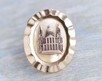 Budapest Scarf Clip - Vintage Oval Collar Clip - Souvenir from St Stephens Basilica Hungary