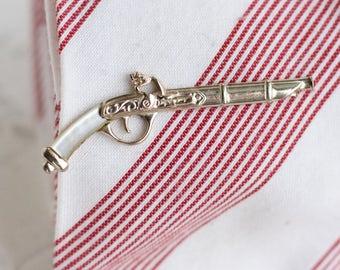 Hand Gun Tie Clip - Mother of Pearl Pistol Vintage Tie Clip - Nippy Clip Imitation  - Made in England