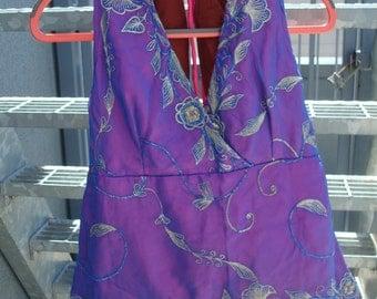 Festival style purple embellished halter