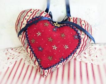 "Americana Heart, USA Patriotic, 5"" Door Hanger Heart Ornament, Red Ecru Navy, Heart Ornament Handmade CharlotteStyle Decorative Folk Art"