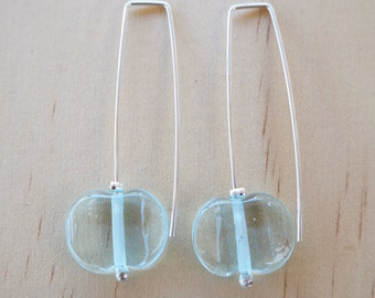 Long Earrings. Recycled Glass Beads made from a wine bottle