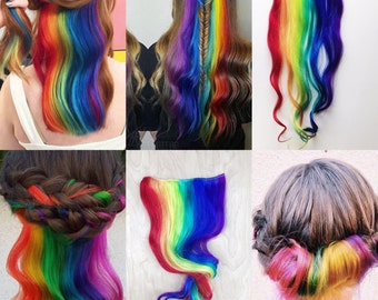 Custom under lights, Clip In Hair Extensions, Mermaid Hair, Rainbow Hair, underlights, Blue Hair, Hair Wefts, Human Hair Extensions, Bundle