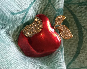 Red Rhinestone Apple with Rhinestone Leaves