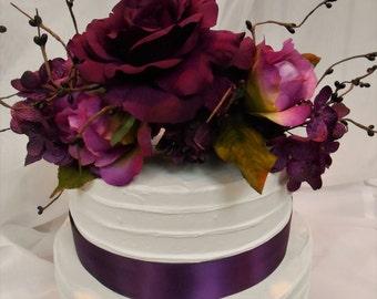 Silk Flower Cake Topper / Silk Floral Wedding Cake Topper / Purple Flower Cake Topper / Wedding Cake Topper / Wedding Decorations