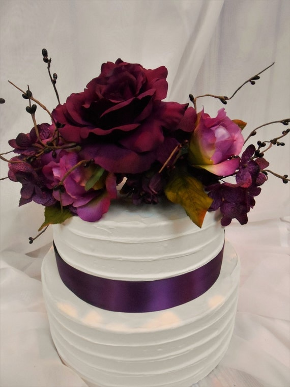 Silk flower cake topper silk floral wedding cake topper like this item junglespirit Gallery