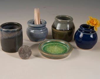 Miniature Pottery Vases - Colorful set of 5 - bud vases / toothpick holders / tiny pots