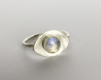 rainbow moonstone ring, evil eye, stacking,grey stone, rainbow moonstone, minimal, sterling silver, polished, modern jewelry