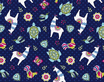 20 x 20 LAMINATED cotton fabric (similar to oilcloth) Peruvian Treat - EXCLUSIVE - Approved for children's products