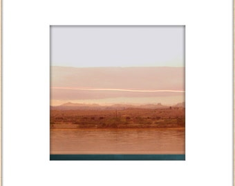 Pink Desert Landscape Photograph, Abstract Modern Wall Art, Minimal Home, Grapefruit Hue, Modern Santa Fe, Desert Water, Pastel Art