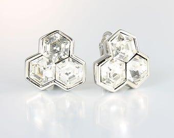 SAL Earrings, Swarosvki crystal Hexagon Earrings, 1980s jewelry