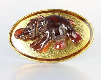 Antique Elephant Brooch, Gold Enamel Art Deco Brooch, Carved Carnelian bakelite, 1930s jewelry