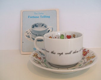 Vintage Fortune Telling Cup and Saucer and Booklet Tea Leaf Reading Divination Gypsy Fortune Telling Astrology Fine China
