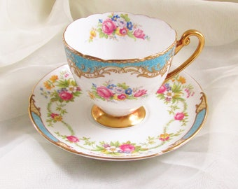 Shelley Tea Cup Saucer Dubarry Blue Teacup 1960s Floral