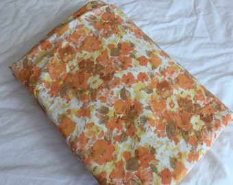 Vintage Double-Full Fitted Bedsheet, Orange Floral, Cannon Featherlite