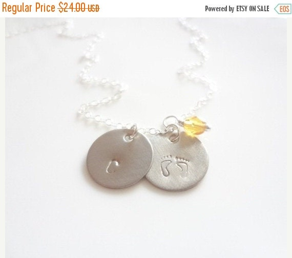 Personalized Necklace Mommy 2 Two Discs Mom Sterling Silver Gold Filled Chain Birthstone Charms Letter Handmade Jewelry Jewellery Baby Feet