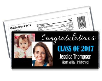 We print. Set of 12 - Then and Now Personalized Photo Graduation Candy Bar Wrapper Favors
