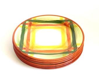 Vernon Kilns Homespun Plaid Salad Plates Set of 6 1950's Vintage Vernon Kilns Vernonware