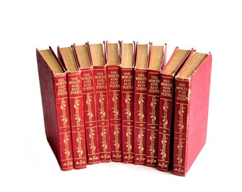World's 1000 Best Poems Antique 1929 Poetry Books Red Gold Set of Poetry Books Poe Kipling Books Valentines Day