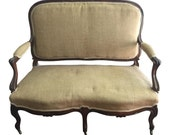 SOLD French settee with castors. Interior design. Free shipping