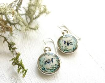 Illustrated Honey Bee Earrings, Painted Bee Jewelry, Silver Earrings, Flower Garden Earrings, Green Earrings, Unique Bee Gift