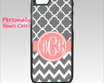 Monogram iPhone Case iPhone 7 Personalized iPhone 6 Plus Custom iPhone 5 iPhone SE Tough Case Gray Chevron Quatrefoil Note 5 Galay S7 Edge