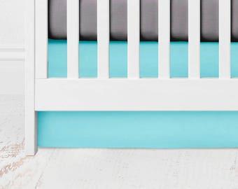 Aqua Straight Crib Skirt -  Kona Cotton - Aqua Crib Skirt - Aqua Baby Bedding - Aqua Bed Skirt - Aqua Crib Bedding