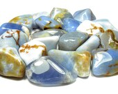 TUMBLED - (2) Medium/Large BLUE CHALCEDONY Crystals with Description Card - Healing Stone Reiki