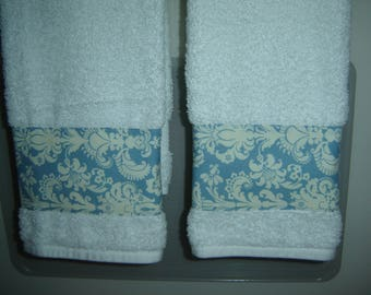 Blue & white damask-type fabric on white hand/dish towels, pair, contemporary spring/summer decor, cotton terry, hostess, mom or shower gift