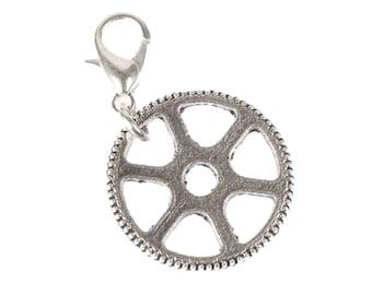 Gear wheel clockwork Charm Zipper Pull pendant Bracelet wristlet Steampunk silver