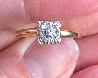 1940s Engagement Ring in 14KT white and yellow gold miricle head
