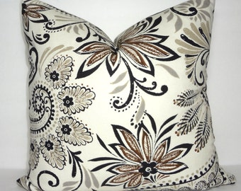 Brown Black Taupe Floral Pillow Cover Decorative Pillow Cover Paisley Pillow Cover Size 18x18