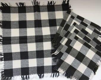 Set of 6 1960s Black and White Check Cotton Fringe Napkins - Vintage Table Linens - Collectible - Picnic BBQ RV Retro