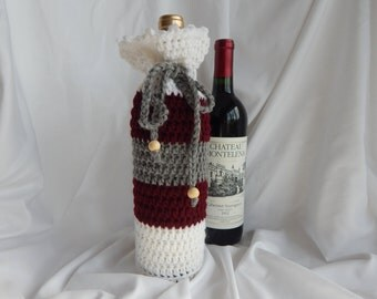 Wine Bottle Cover - Crochet Wine Cozy -  Gray Burgundy and White with Wood Beads
