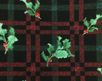 "1 Yard Christmas Fabric Plaid Red Green with Holly and Berries 44"" Wide Diane Richmond"