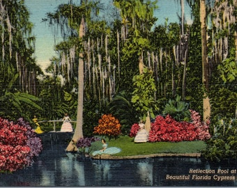 Cypress Gardens, Florida, Reflection Pool - Linen Postcard - Postcard - Unused (L)