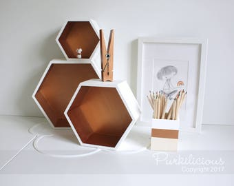 hexagon shelf etsy. Black Bedroom Furniture Sets. Home Design Ideas