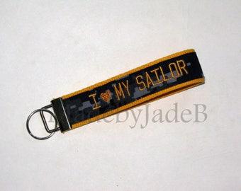 I heart My Sailor / Key Fob / Custom / Monogrammed Name Tape Key Fob