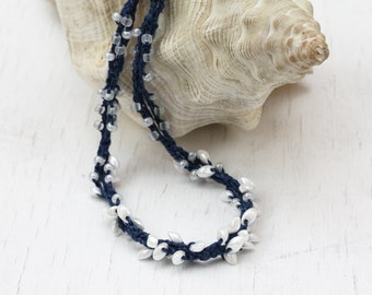 Navy blue and white necklace Linen crochet jewelry with glass beads Summer fashion Casual jewelry Nautical style Gift for her Boho chic