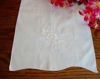 White Tea Towel White Embroidery Vintage Towel Kitchen Linens