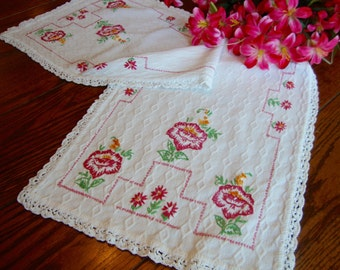 Dresser Scarf Red Floral Embroidered Table Runner Vintage Table Linens