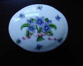 Porcelain Trinket Box Vintage Lenox Keepsake Box Jewelry Box Purple Flowers