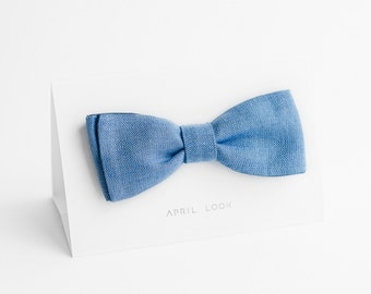 Light blue bow tie - double sided, MADE TO ORDER
