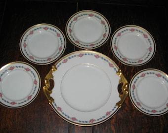 ANTIQUE PORCELAIN CAKE Set, L. Bernardaud & Co. Limoges Cake Set, French Dessert Set