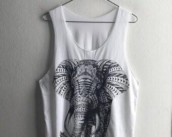 Elephant Tribal Jungle Animal  Tank Top M